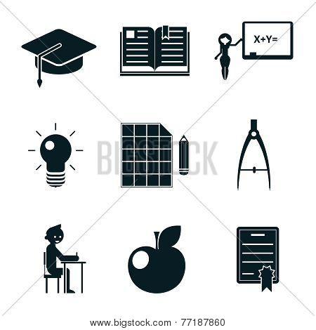 School icons isolated