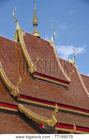 Roof of Wat Mani Phraison, Mae Sot, Tak province, Thailand.