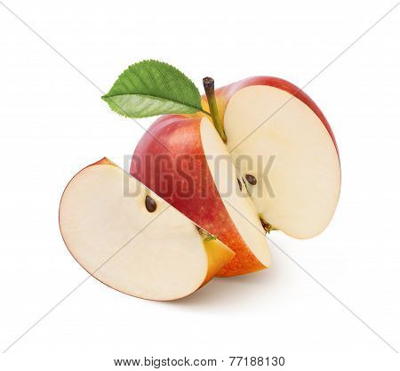 Jonathan Red Apple Cut Isolated On White