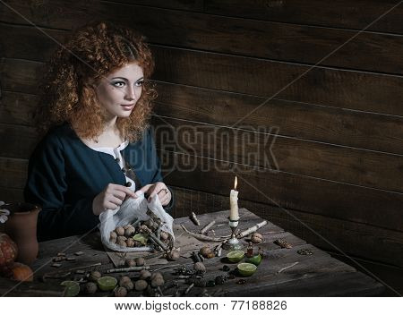 Witch preparing potion