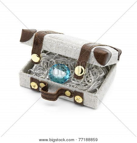 Retro Suitcase With Silver And Blue Topaz