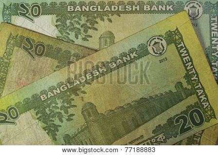 Twenty Bangladeshi taka bills, Bangladesh.