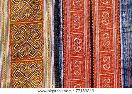 Textile detail of Black Miao (Hmong) minority traditional women's costume Sapa Vietnam.