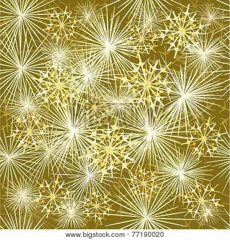Seamless Texture Fireworks Gold Background Vector