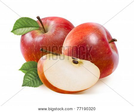Red Jonathan Apples And Quarter Slice Isolated On White