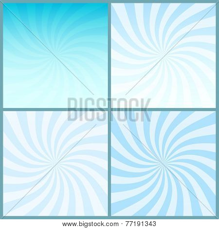 Blue Swirl Striped Centered Retro Backgrounds Set