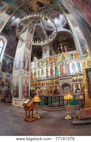 Interior Of The Assumption Cathedral In Iversky Monastery