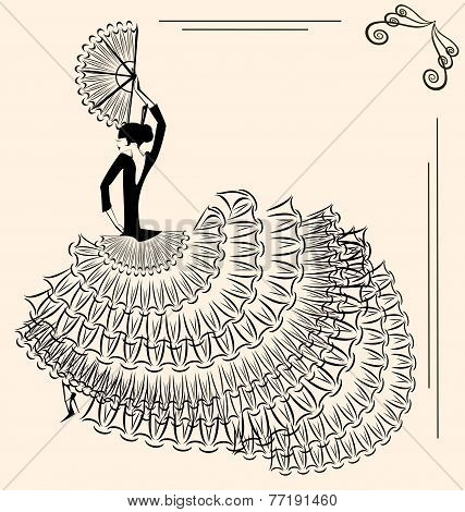 Image Of Flamenco Dancer With Fan