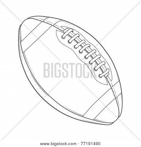American Football Ball Isolated On A White Background. Monochromatic Line Art. Retro Design. Vector