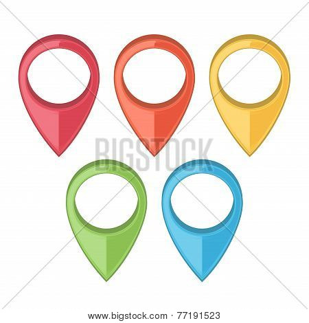 Set Of Map Pointers. Gps Icons. Colored Line Art. Retro Design. Vector Illustration.