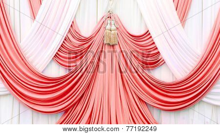 Red And White Curtain On Stage