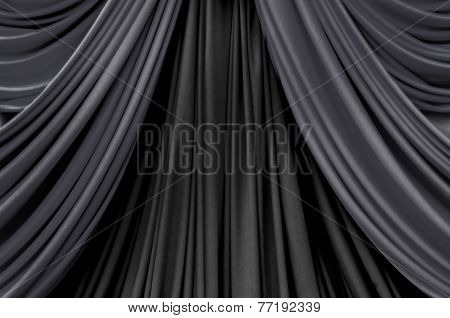 Two Tone Of Black Curtain On Stage