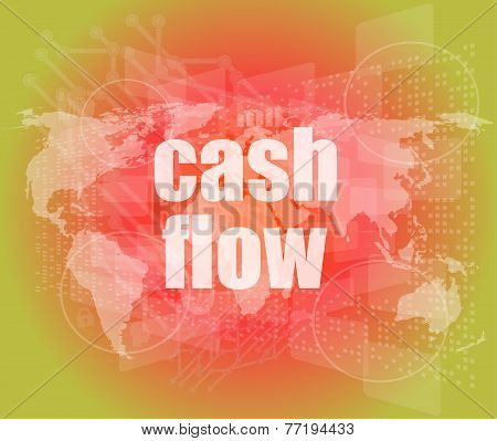 Business Words Cash Flow On Digital Screen Showing Financial Success