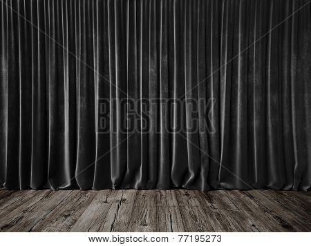 Dark Grey Curtains And Grunge Floor