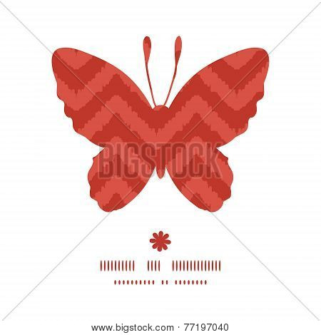 Vector colorful ikat chevron butterfly silhouette pattern frame