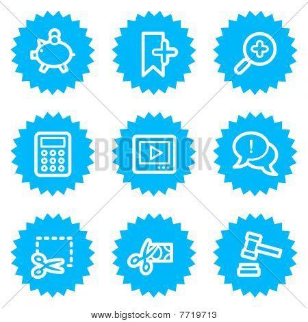 Shopping web icons set 3, blue sticker series