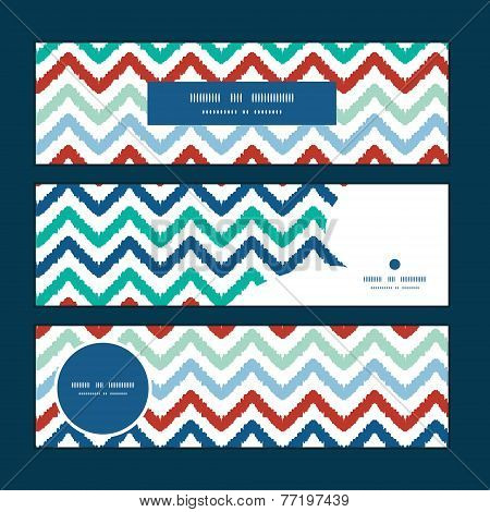 Vector colorful ikat chevron horizontal banners set pattern background