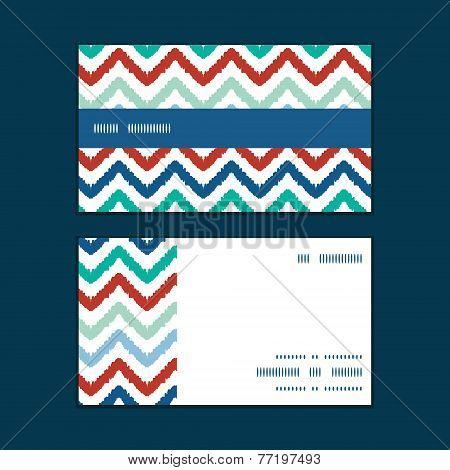 Vector colorful ikat chevron horizontal stripe frame pattern business cards set