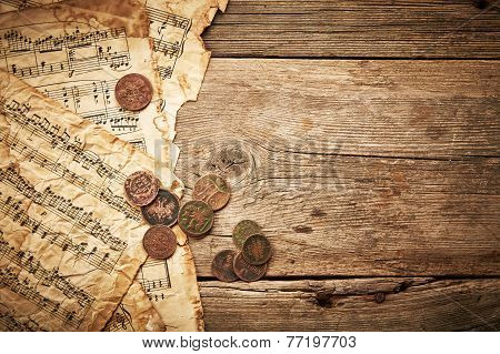 Vintage Still Life With Ancient Coins