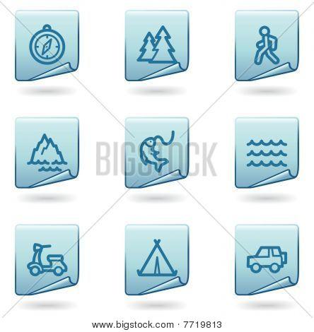 Travel icons set 3, blue sticker series