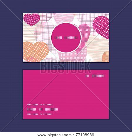 Vector textured fabric hearts heart silhouette pattern frame