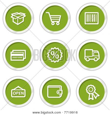 Shopping web icons set 2, green circle buttons