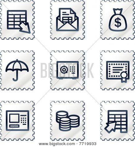 Banking web icons, white stamp series