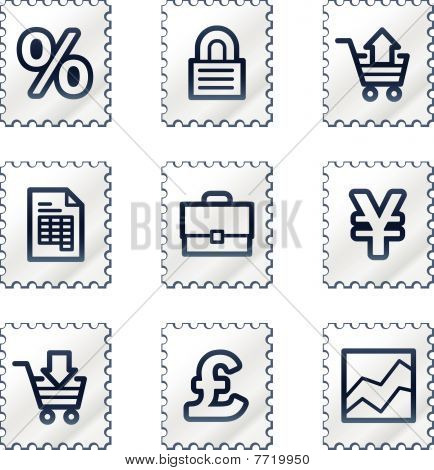 E-business web icons, white stamp series