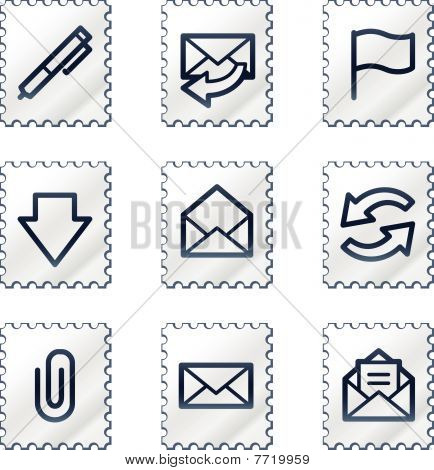 E-mail web icons, white stamp series
