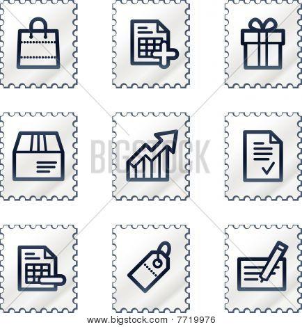 Shopping web icons set 1, white stamp series