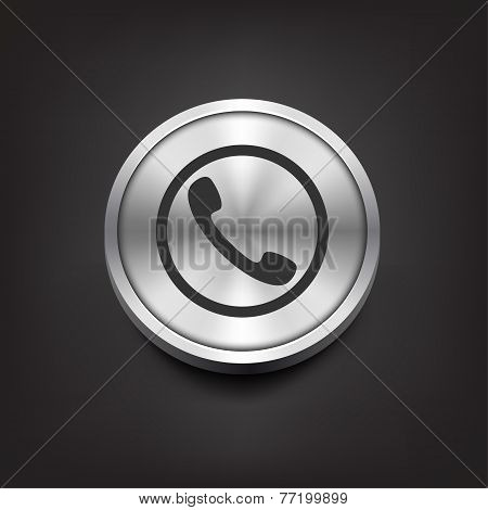 Phone handset icon on silver button.