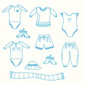 foto of babygro  - Baby boy garments set sketchy style in blue - JPG