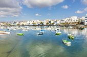 pic of canary-islands  - Arrecife in Lanzarote Charco de San Gines boats in Canary Islands - JPG