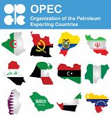 picture of petroleum  - Flags of OPEC the Organization of the Petroleum Exporting Countries overlaid on outline map isolated on white background - JPG
