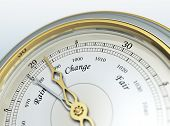 foto of barometer  - A vintage barometer predicts us changeable weather - JPG