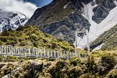 image of hooker  - Bridge over Hooker River in Aoraki national park New Zealand - JPG