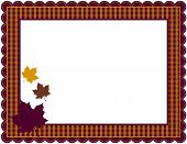 image of scallops  - Gingham patterned frame with scalloped border designed in Fall theme colors with falling leaves - JPG