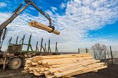 pic of logging truck  - Tree log hydraulic manipulator  - JPG
