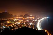 stock photo of ipanema  - Night View of Rio de Janeiro with Lake and Ipanema Beach - JPG