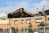 picture of purlin  - industrial warehouse destroyed by fire in italy - JPG