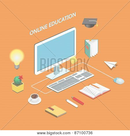 Online education e-learning science Isometric concept with book and computer  vector illustration