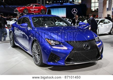 NEW YORK - APRIL 1: Lexus exhibit RCF at the 2015 New York International Auto Show during Press day,  public show is running from April 3-12, 2015 in New York, NY.
