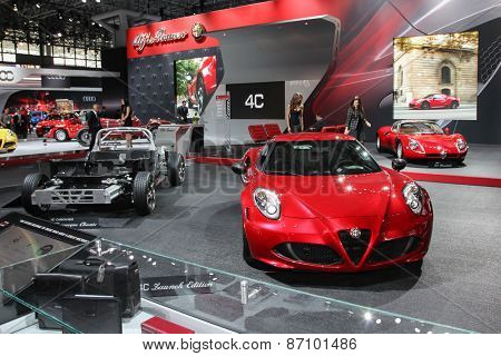 NEW YORK - APRIL 1: Alfa Romeo exhibit  at the 2015 New York International Auto Show during Press day,  public show is running from April 3-12, 2015 in New York, NY.