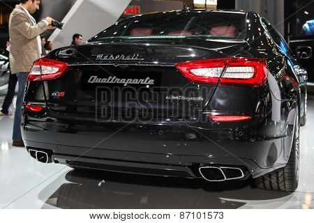 NEW YORK - APRIL 1: Maserati exhibit Maserati Quattroporte at the 2015 New York International Auto Show during Press day,  public show is running from April 3-12, 2015 in New York, NY.