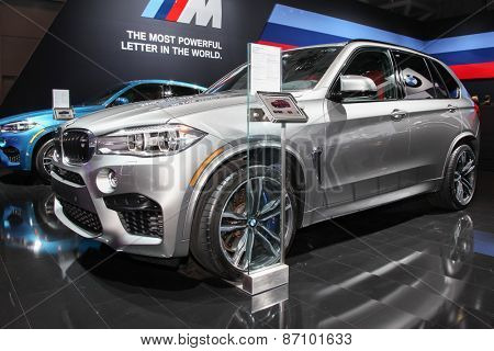 NEW YORK - APRIL 1: BMW exhibit  X5 M at the 2015 New York International Auto Show during Press day,  public show is running from April 3-12, 2015 in New York, NY.