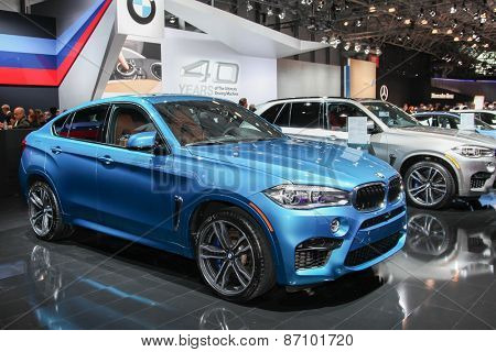 NEW YORK - APRIL 1: BMW exhibit  X6 M at the 2015 New York International Auto Show during Press day,  public show is running from April 3-12, 2015 in New York, NY.