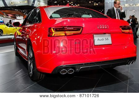 NEW YORK - APRIL 1: Audi exhibit Audi S 6 at the 2015 New York International Auto Show during Press day,  public show is running from April 3-12, 2015 in New York, NY.