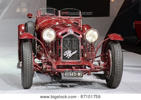 NEW YORK - APRIL 1: Alfa Romeo exhibit antique car at the 2015 New York International Auto Show during Press day,  public show is running from April 3-12, 2015 in New York, NY.
