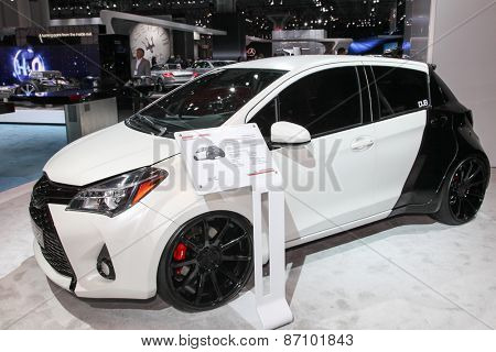 NEW YORK - APRIL 1: Toyota exhibit DUB Edition Yaris  at the 2015 New York International Auto Show during Press day,  public show is running from April 3-12, 2015 in New York, NY.