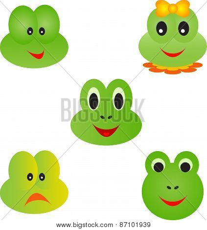 Isolated Green Frog Faces on White Background, Frog Vectors